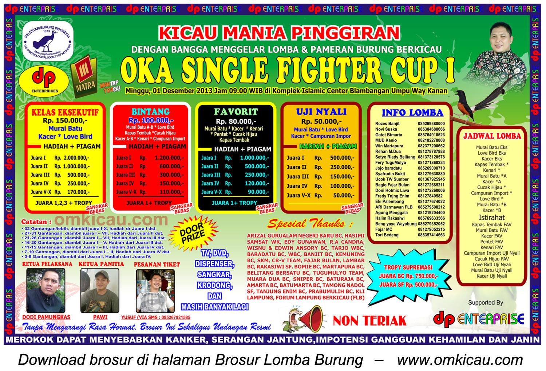 Brosur Lomba Burung Berkicau OKA SF Cup 1, Way Kanan, 1 Desember 2013