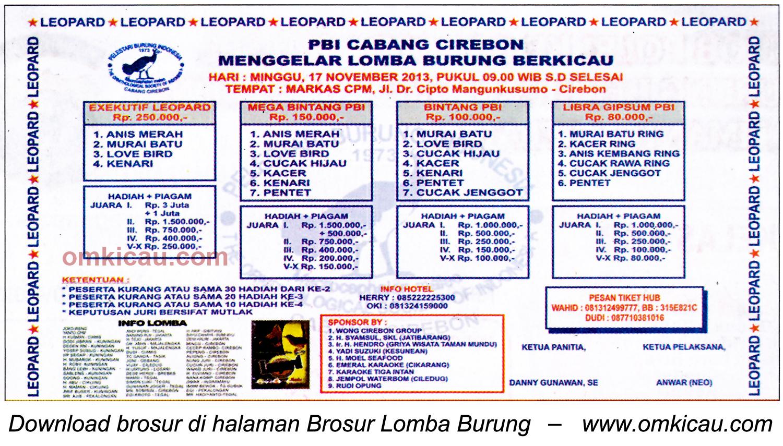 Brosur Lomba Burung Berkicau PBI Cirebon, 17 November 2013