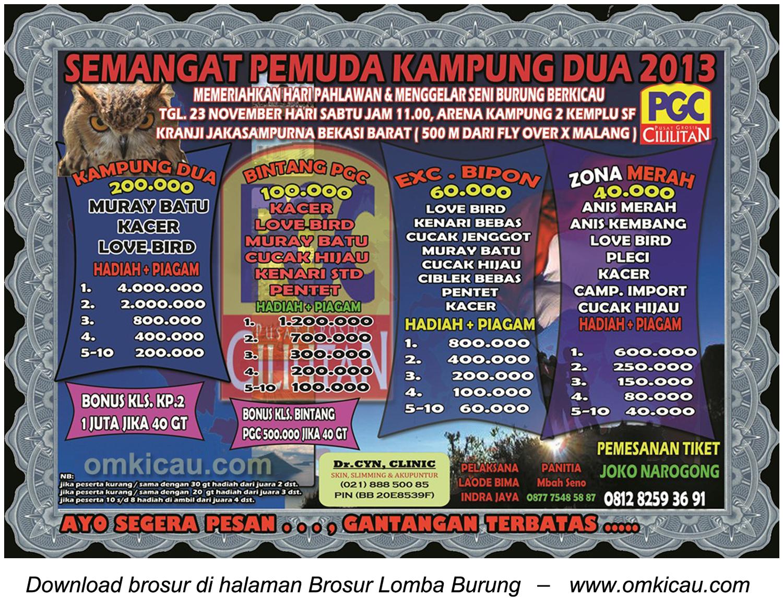Brosur Lomba Burung Berkicau Semangat Pemuda Kampung2, Bekasi Barat, 23 November 2013
