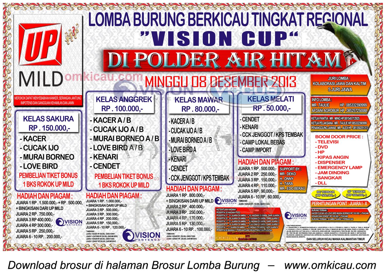 Brosur Lomba Burung Berkicau Vision Cup, Samarinda, 8 Desember 2013