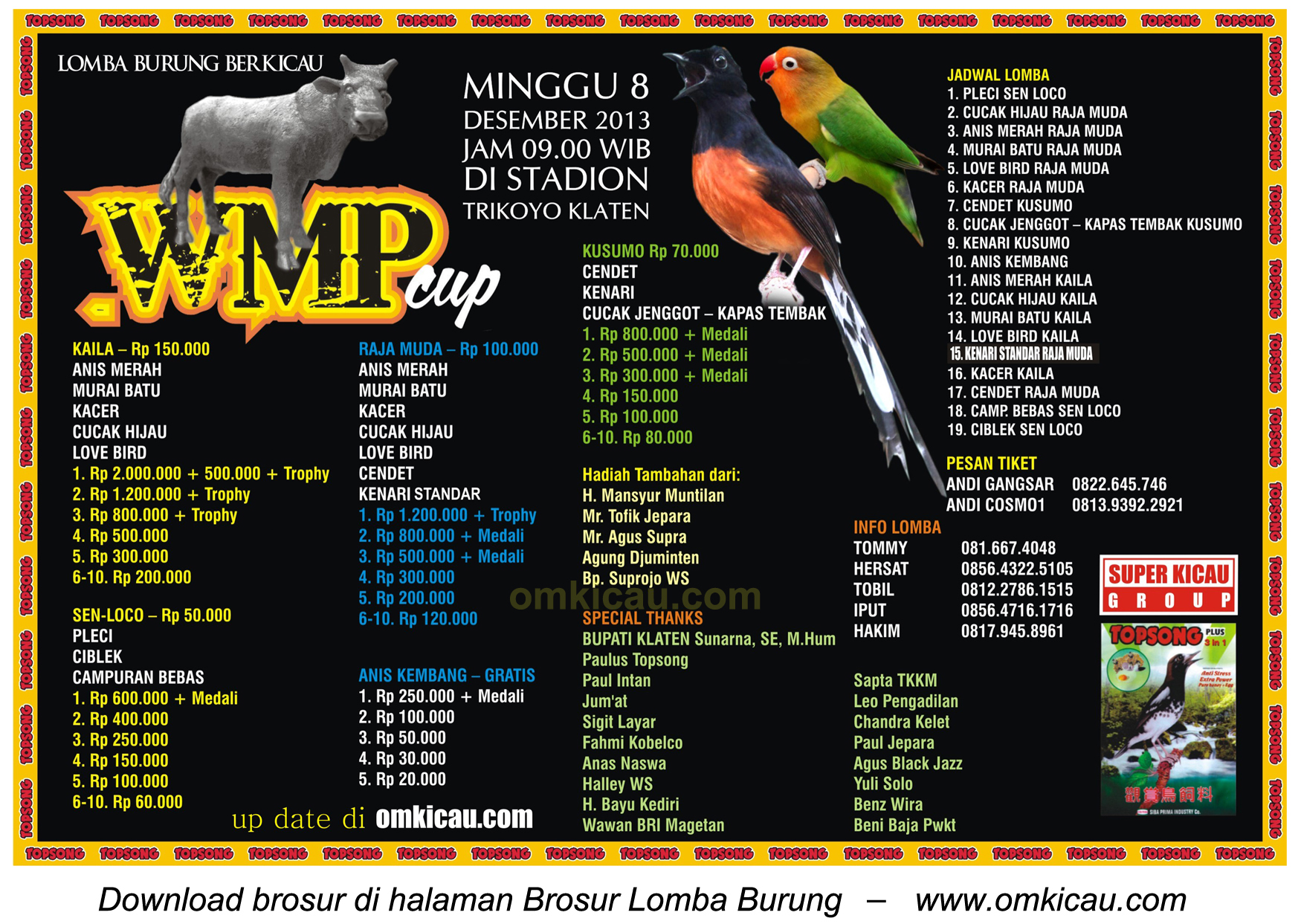 Brosur Lomba Burung Berkicau WMP Cup, Klaten, 8 Desember 2013