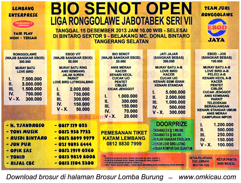 Brosur Lomba Burung Bio Senot Open (LR Jabodetabek VII), Tangerang Selatan,15 Desember 2013