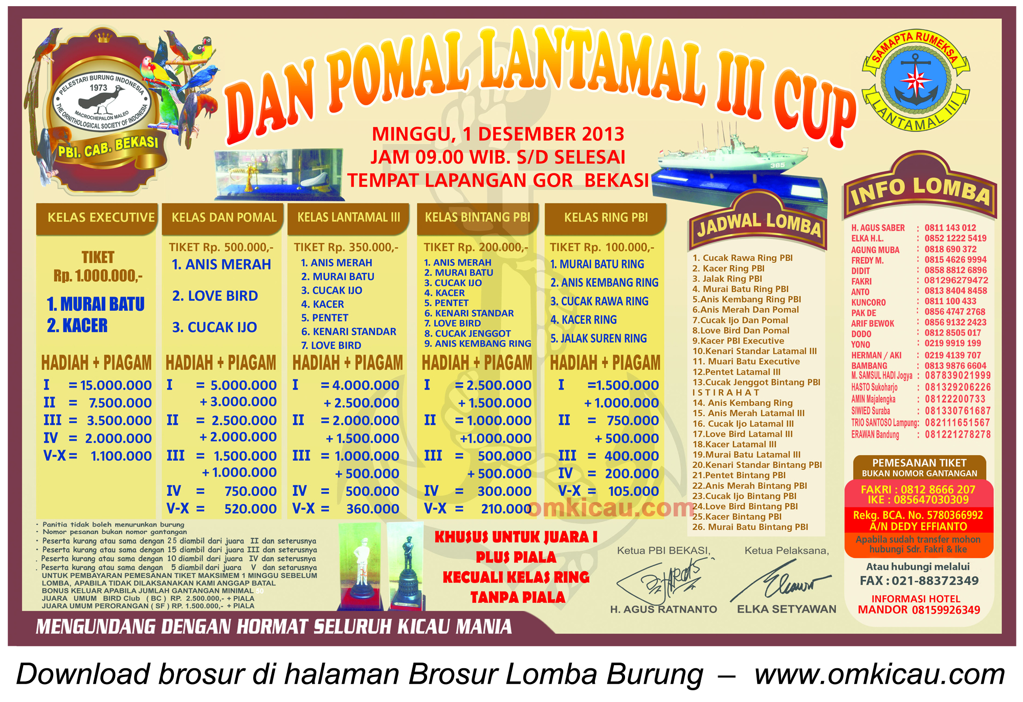 Brosur Lomba Burung Dan Pomal Lantamal III Cup, Bekasi, 1 Desember 2013