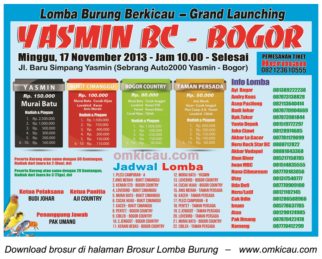 Brosur Lomba Burung Grand Launching Yasmin BC, Bogor, 17 November 2013