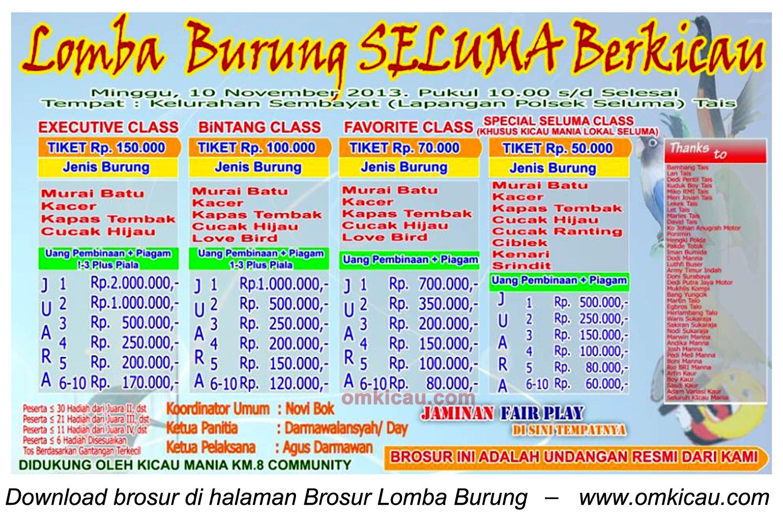 Brosur Lomba Burung Seluma Berkicau, Bengkulu, 10 November 2013