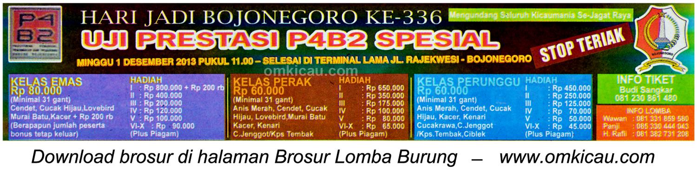 Brosur Lomba Burung Uji Prestasi P4B2 Spesial, Bojonegoro, 1 Desember 2013