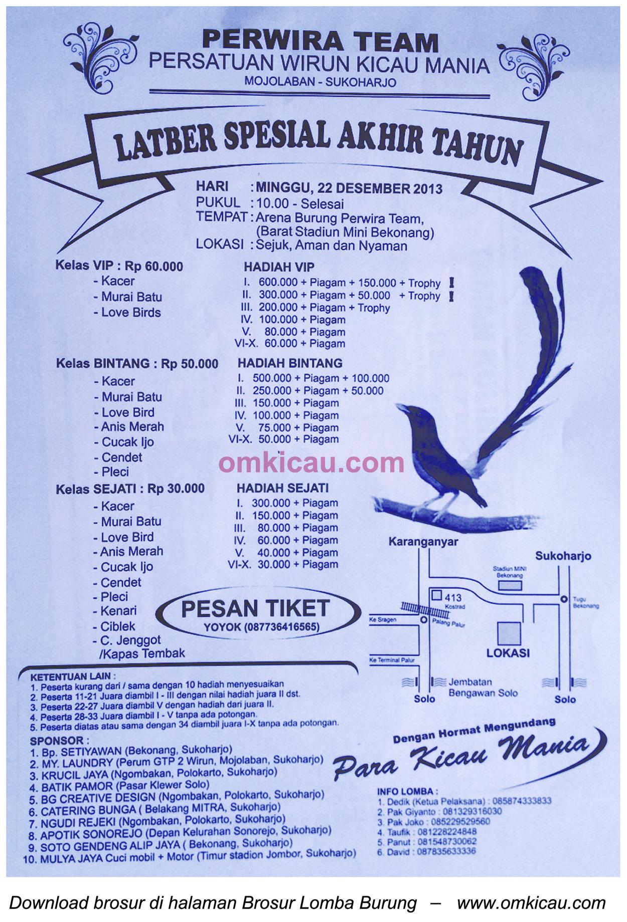 Brosur Latber Spesial Akhir Tahun Perwira Team, Sukoharjo, 22 Desember 2013
