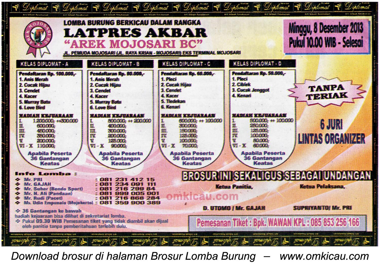 Brosur Latpres Akbar Arek Mojosari BC, Mojokerto, 8 Desember 2013