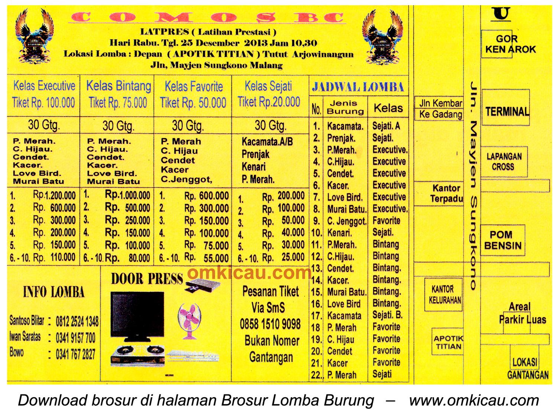Brosur Latpres Burung Berkicau Comos BC, Malang, 25 Desember 2013