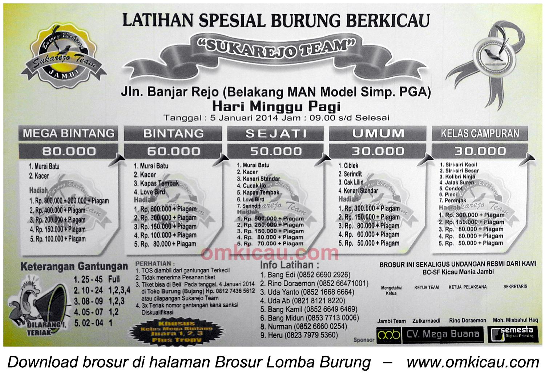 Brosur Latpres Burung Berkicau Sukarejo Team, Jambi, 5 Januari 2014