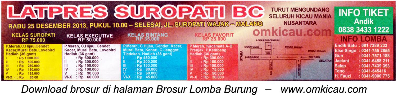 Brosur Latpres Burung Berkicau Suropati BC, Malang, 25 Desember 2013