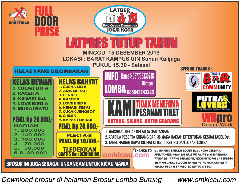 Brosur Latpres Tutup Tahun Bodem, Jogja, 15 Desember 2013