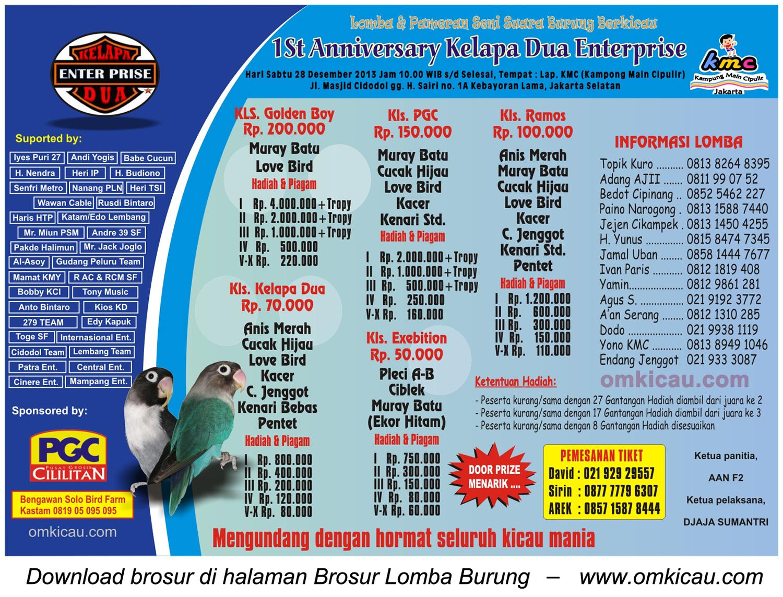 Brosur Lomba Burung 1st Anniversary Kelapa Dua Ent, Jakarta, 28 Desember 2013