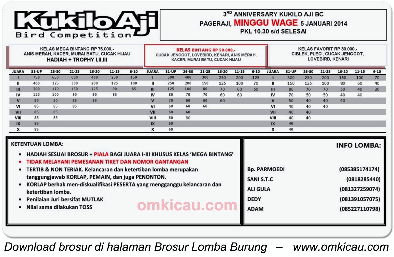 Brosur Lomba Burung 3rd Anniversary Kukilo Aji BC, Purwokerto, 5 Januari 2014