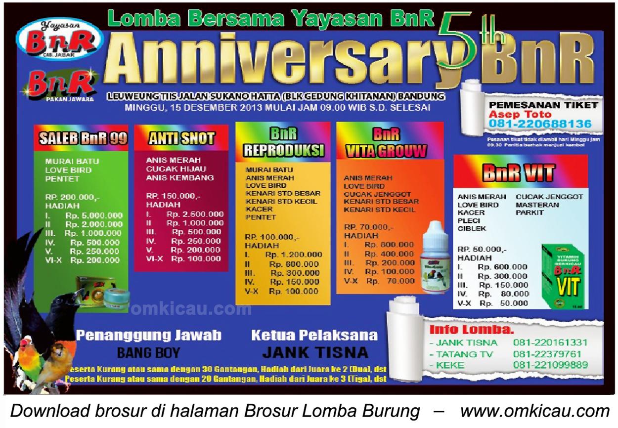 Brosur Lomba Burung Berkicau 5th Anniversary BnR, Bandung, 15 Desember 2013