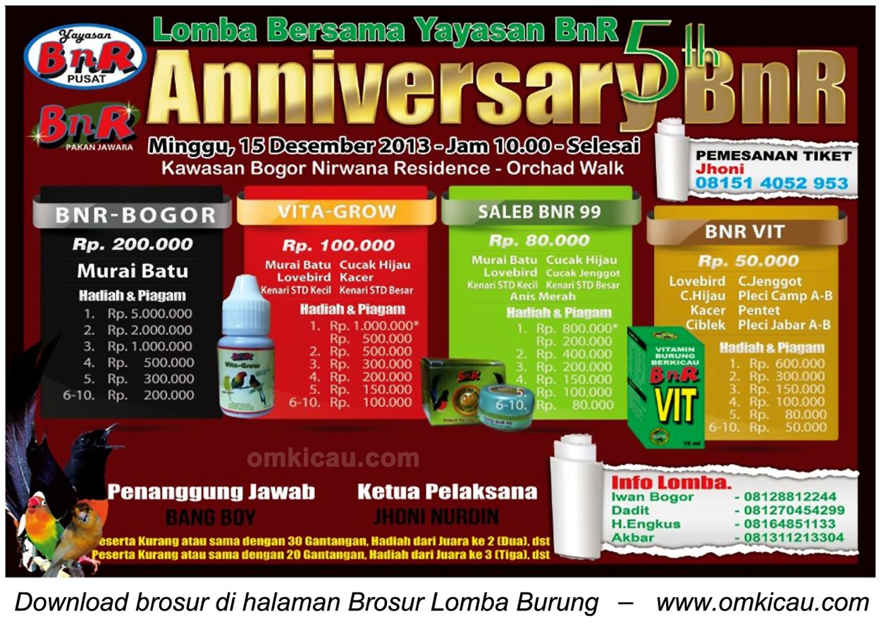 Brosur Lomba Burung Berkicau 5th Anniversary BnR, Bogor, 15 Desember 2013