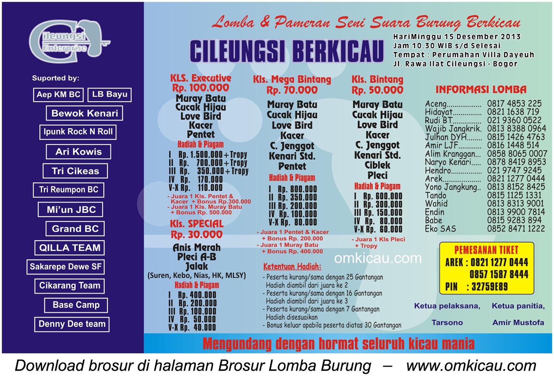 Brosur Lomba Burung Berkicau Cileungsi Berkicau, Bogor, 15 Desember 2013
