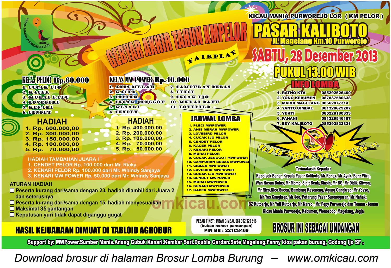 Brosur Lomba Burung Berkicau Gebyar Akhir Tahun KM Pelor, Purworejo, 28 Desember 2013
