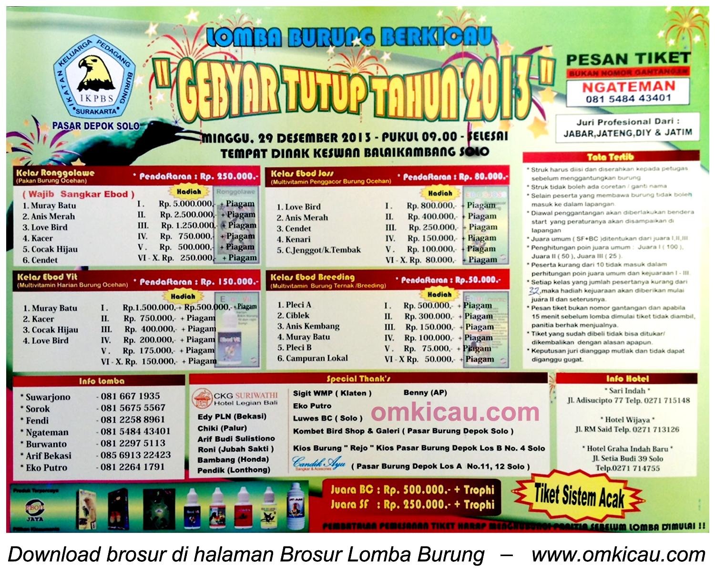 Brosur Lomba Burung Berkicau Gebyar Tutup Tahun IKPBS, Solo, 29 Desember 2013