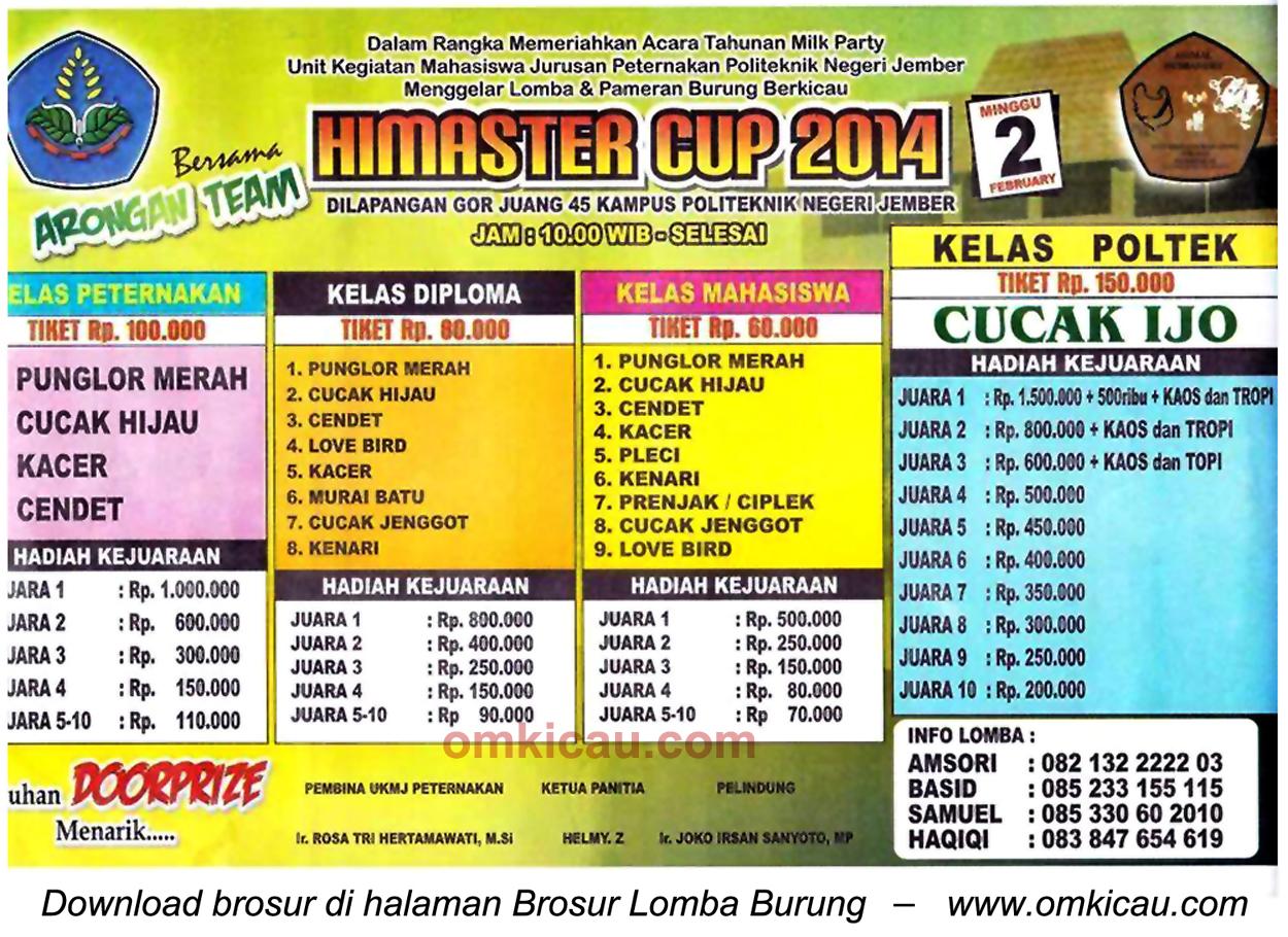 Brosur Lomba Burung Berkicau Himaster Cup, Jember, 2 Februari 2014
