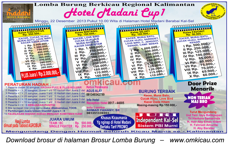 Brosur Lomba Burung Berkicau Hotel Madani Cup I, Barabai-Kalsel, 22 Desember 2013