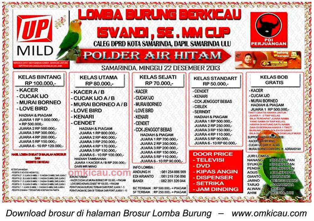 Brosur Lomba Burung Berkicau Iswandi SE MM Cup, Samarinda, 22 Desember 2013
