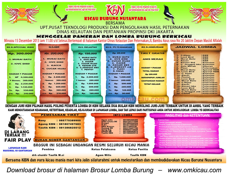 Brosur Lomba Burung Berkicau KBN, Jakarta, 15 Desember 2013