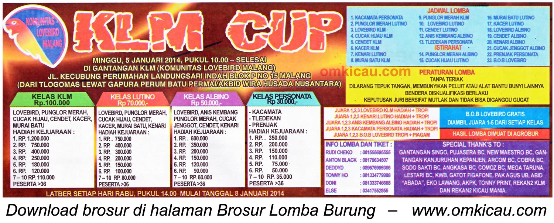Brosur Lomba Burung Berkicau KLM Cup, Malang, 5 Januari 2014