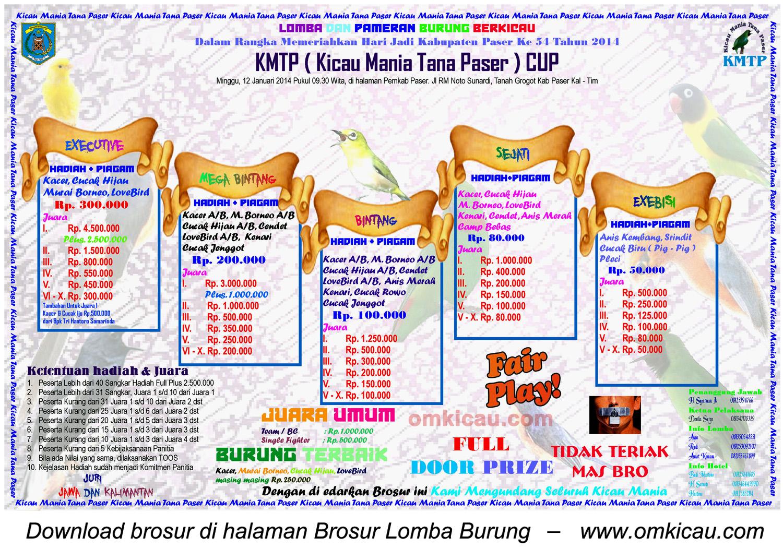 Brosur Lomba Burung Berkicau KMTP Cup, Kab Paser, 12 Januari 2014