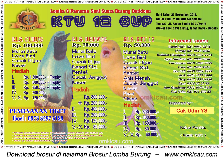 Brosur Lomba Burung Berkicau KTU Cup, Depok, 25 Desember 2013