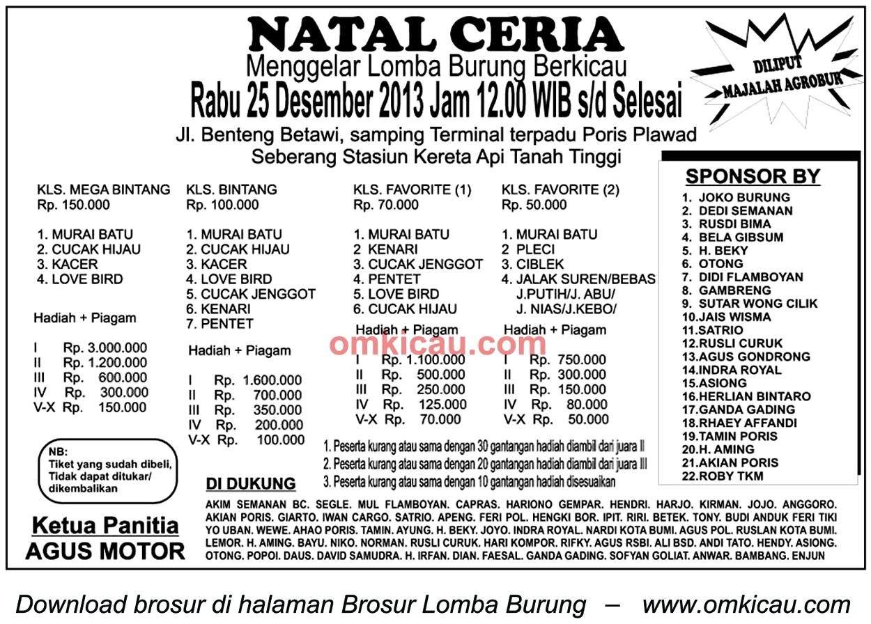 Brosur Lomba Burung Berkicau Natal Ceria, Tangerang, 25 Desember 2013
