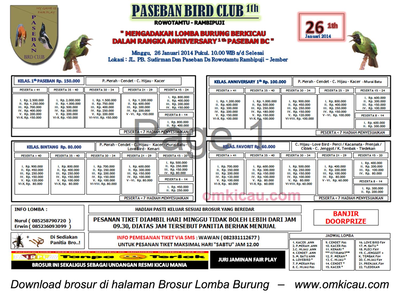Brosur Lomba Burung Berkicau Paseban BC, Jember, 26 Januari 2014