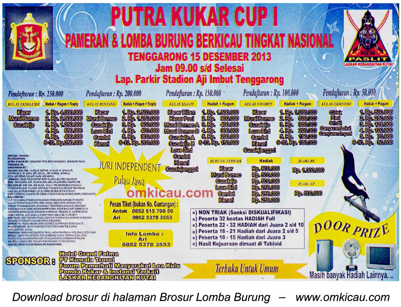 Brosur Lomba Burung Berkicau Putra Kukar Cup I, Tenggarong, 15 Desember 2013