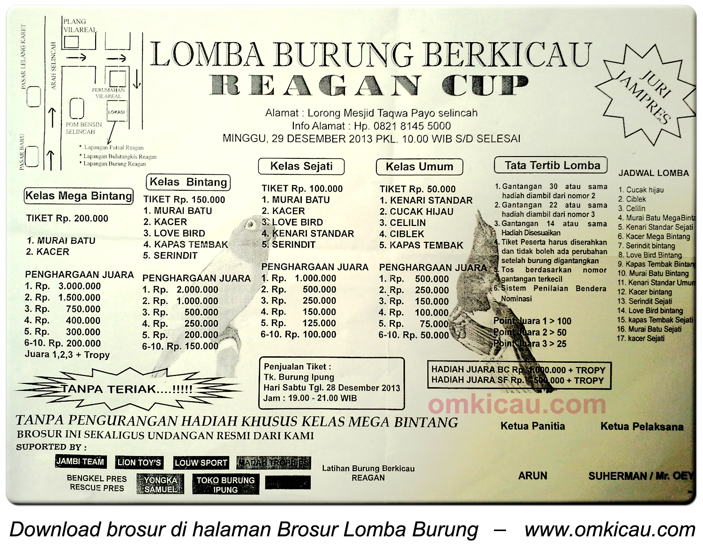 Brosur Lomba Burung Berkicau Reagen Cup, Jambi, 29 Desember 2013