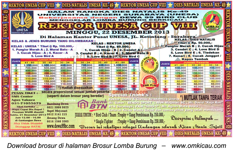 Brosur Lomba Burung Berkicau Rektor Unesa Cup VIII, Surabaya, 22 Desember 2013