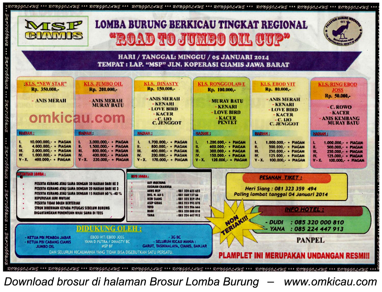 Brosur Lomba Burung Berkicau Road to Jumbo Oil Cup, Ciamis, 5 Januari 2014