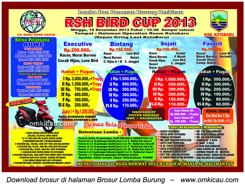 Brosur Lomba Burung Berkicau RSH Bird Cup, Kotabaru, 15 Desember 2013