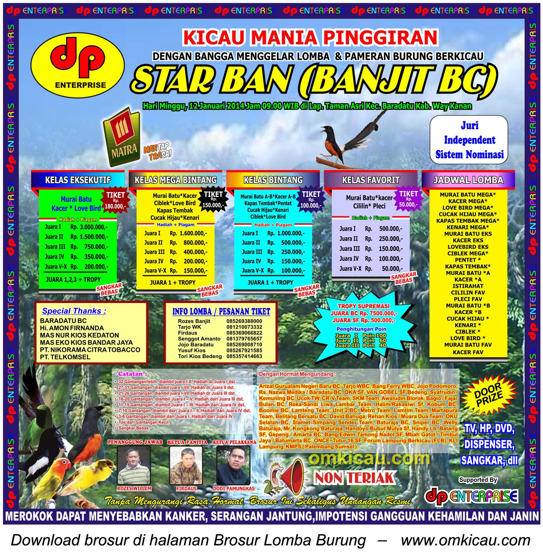 Brosur Lomba Burung Berkicau Star Ban (Banjit BC), Kab Way Kanan, 12 Januari 2014