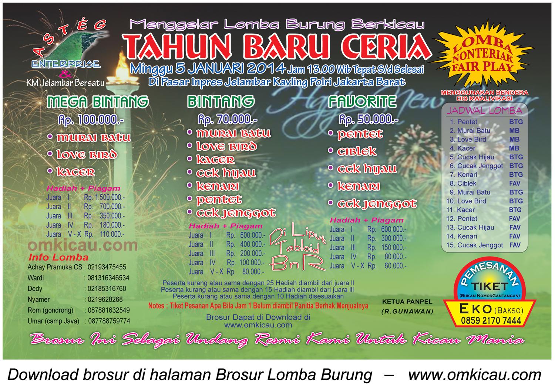 Brosur Lomba Burung Berkicau Tahun Baru Ceria, Jakarta Barat, 5 Januari 2014