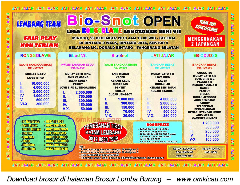 Brosur Lomba Burung Bio-Snot Open (LR Jabodetabek 7), Tangerang Selatan, 29 Desember 2013
