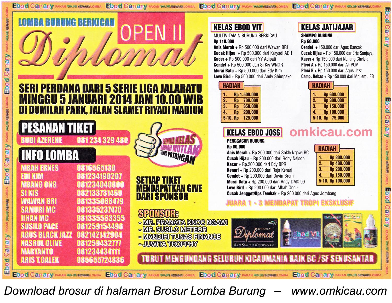 Brosur Lomba Burung Diplomat Open II (Seri 1 Liga Jalaratu), Madiun, 5 Januari 2014