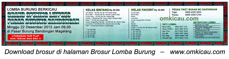 Brosur Lomba Burung Grand Opening Latpres PB Bandongan, Magelang, 22 Desember 2013