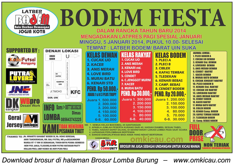 Brosur Lomba Burung Januari Fiesta - Bodem, Jogja, 5 Januari 2014