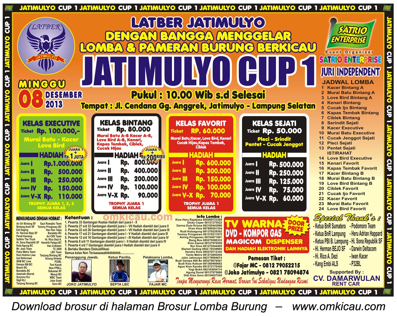 Brosur Lomba Burung Jatimulyo Cup 1, Lampung Selatan, 8 Desember 2013