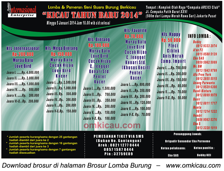 Brosur Lomba Burung Kicau Tahun Baru 2014, Jakarta Pusat, 5 Januari 2014