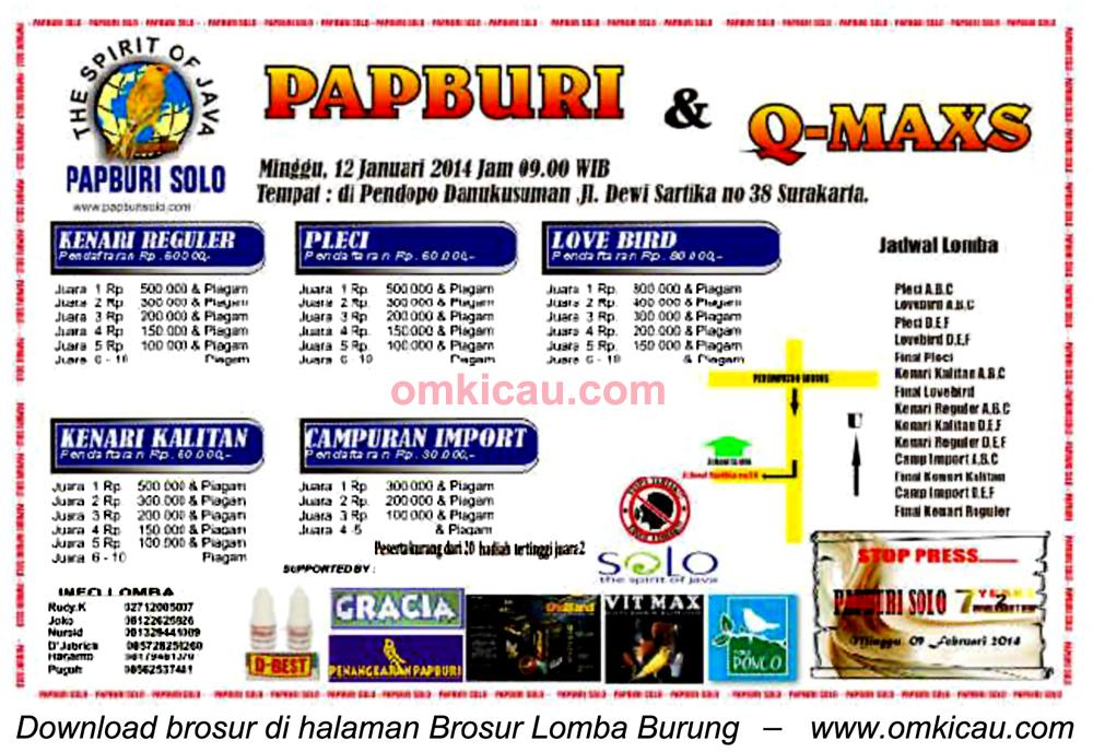 Brosur Lomba Burung Papburi Solo, 12 Januari 2014