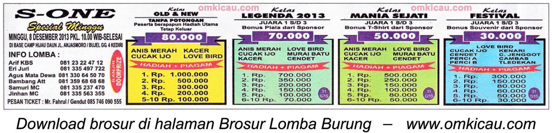 Brosur Lomba Burung S-One Spesial Minggu, Kediri, 8 Desember 2013