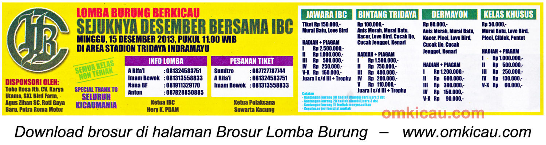 Brosur Lomba Burung Sejuknya Desember Bersama IBC, Indramayu, 15 Desember 2013