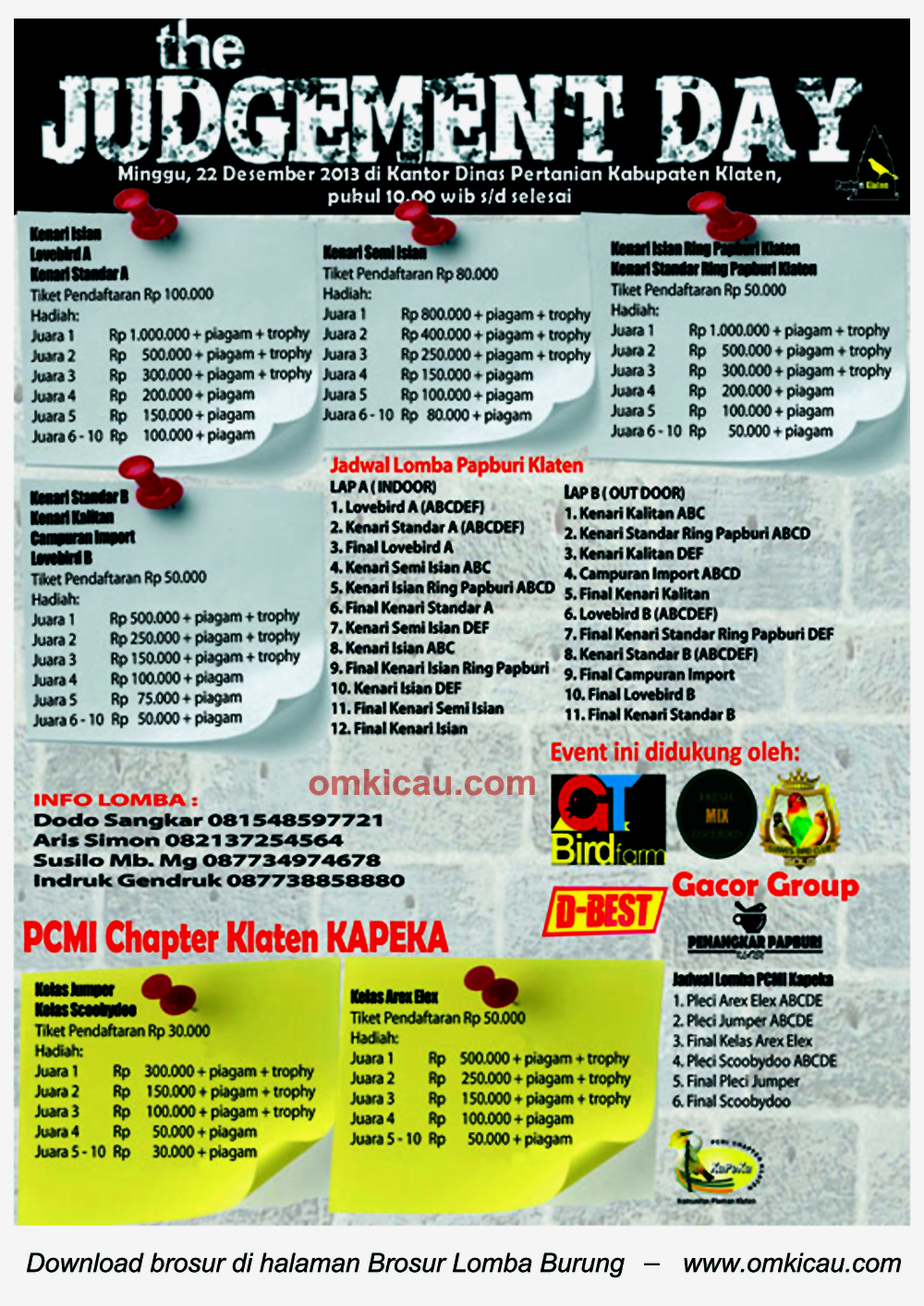 Brosur Lomba Burung The Judgement Day - Papburi Klaten, 22 Desember 2013