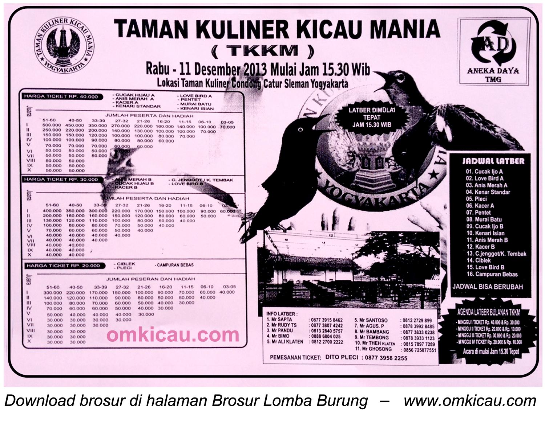 Brosur Lomba Burung TKKM, Jogja, 11 Desember 2013